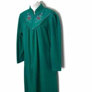 Adonna Womens Zip Robe Green Velour Embroidered M